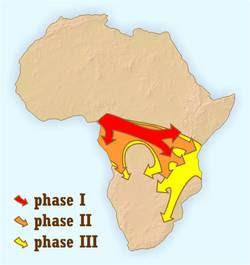 Fases da expansão Bantu  a partir de  onde hoje é Camarões.