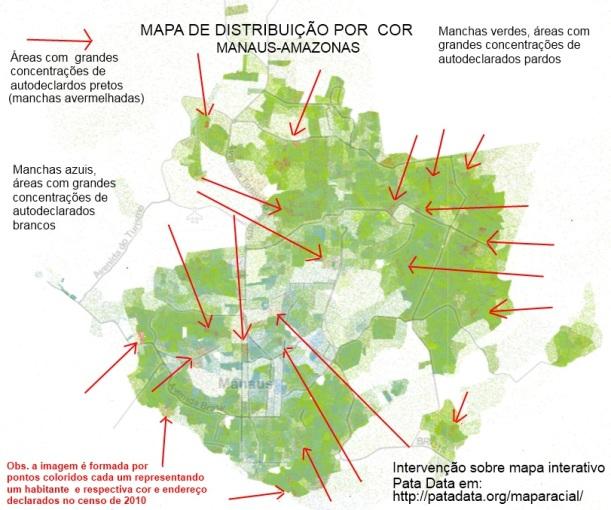 Mapa da cor em Manaus